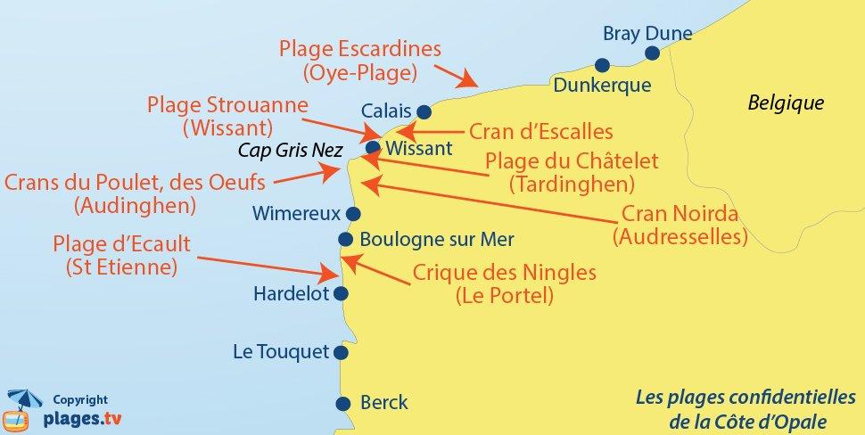 Carte des plages secrètes de la Côte d'Opale