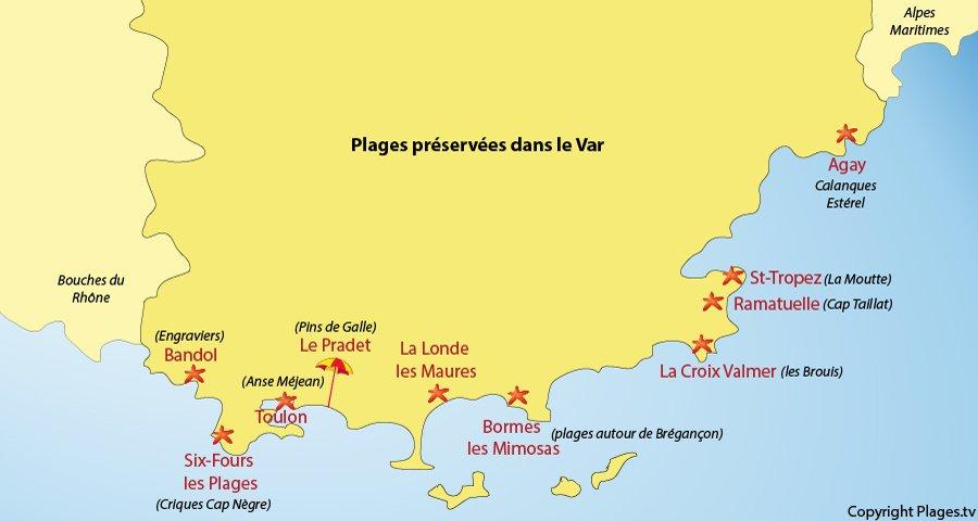 Carte des plages secrètes du Var