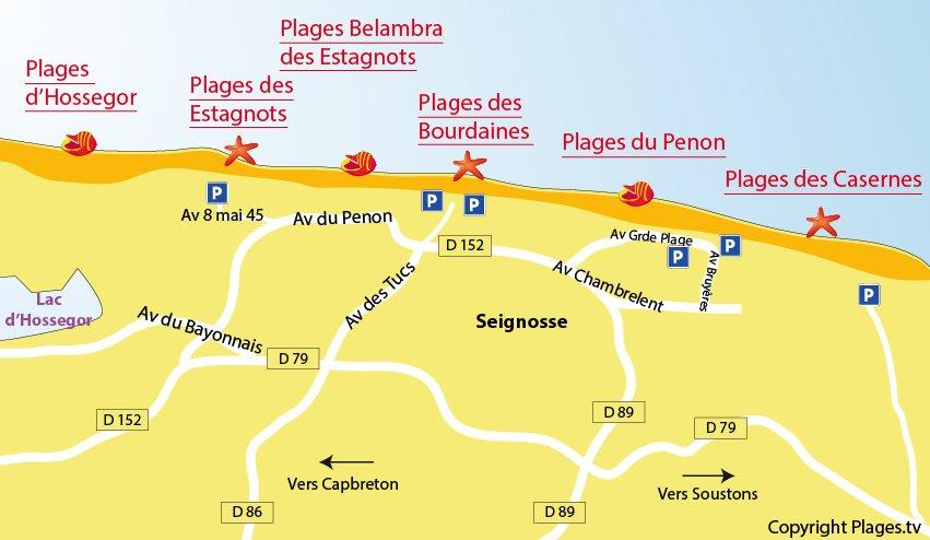 Carte des plages de Seignosse dans les Landes