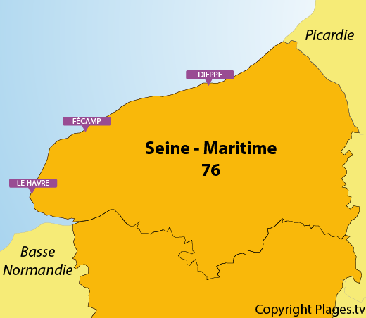 Map of the beaches in Upper Normandy in France