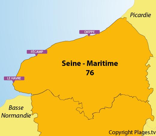 Carte des plages de Seine Maritime