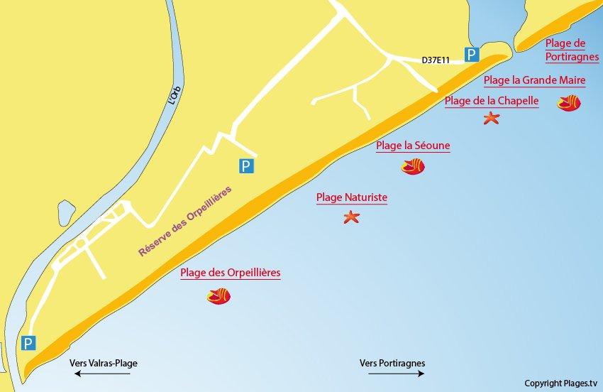 Carte des plages de Sérignan 34