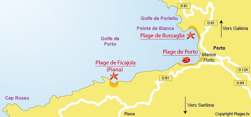 Plan des plages de Serriera dans le golfe de Porto en Corse