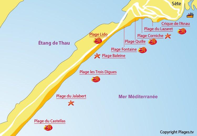 Carte des plages Sète