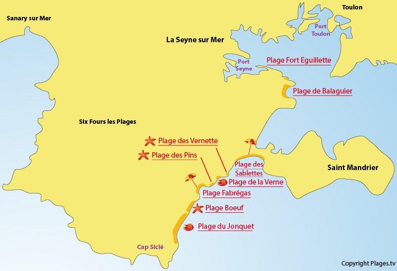 Carte des plages de La Seyne sur Mer dans le Var