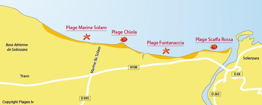Carte des plages de Solaro en Corse