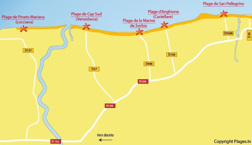 Plan des plages de Sorbo Ocagnano en Corse