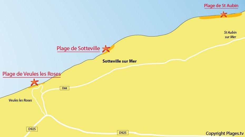 Carte des plages autour de Sotteville sur Mer - 76