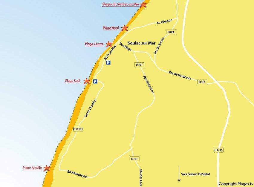 Plan des plages de Soulac sur Mer