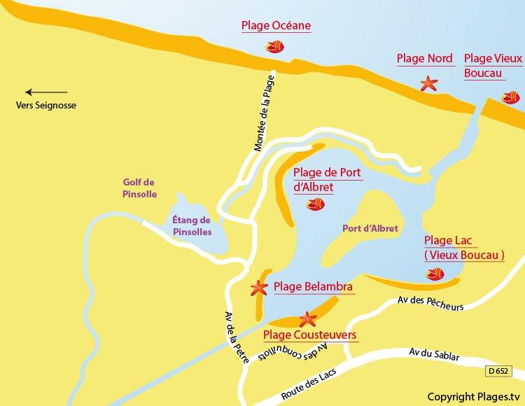 Carte des plages de Soustons dans les Landes