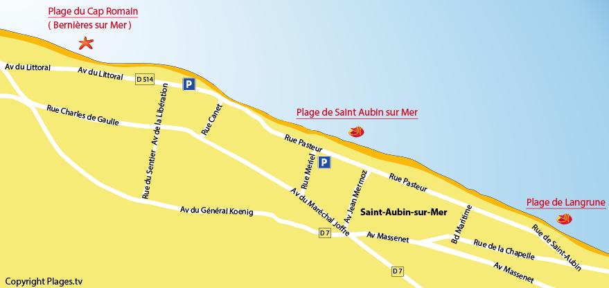 Plan des plages à Saint Aubin (Calvados)