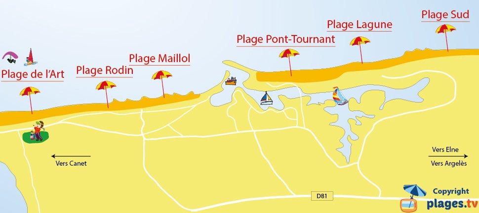Carte des plages de St Cyprien 66