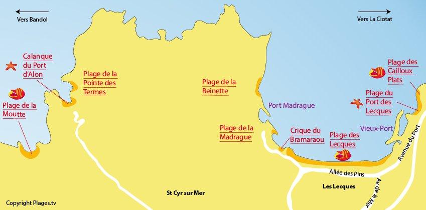 Plan des plages de St Cyr sur Mer dans le Var