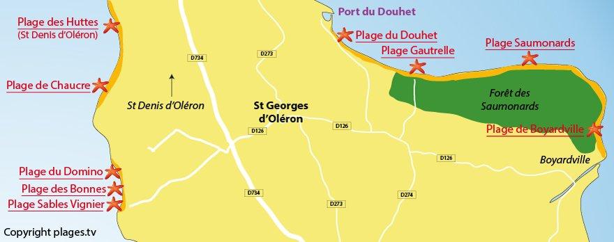 Plan des plages de St Georges d'Oléron