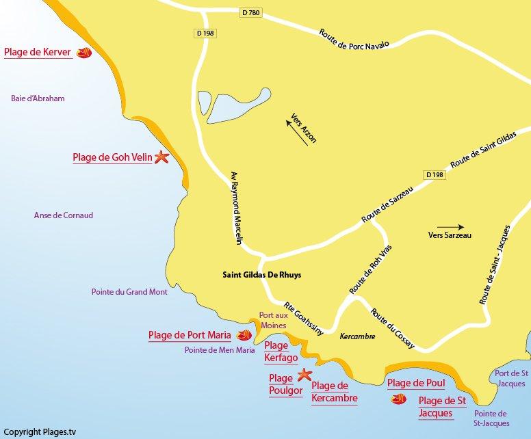 Carte des plages de St Gildas de Rhuys