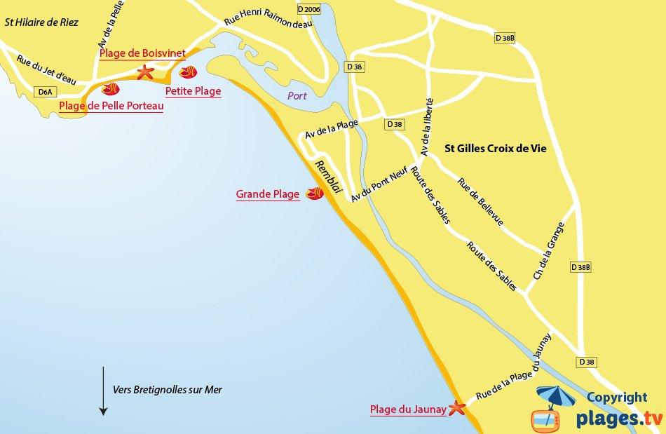 Plan des plages de St Gilles Croix de Vie (Vendée)