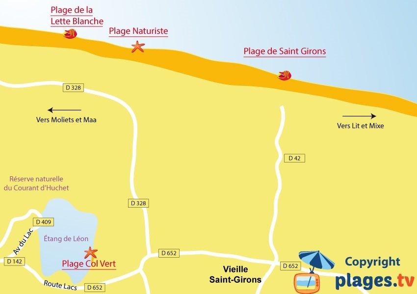 Carte des plages de Saint Girons dans les Landes