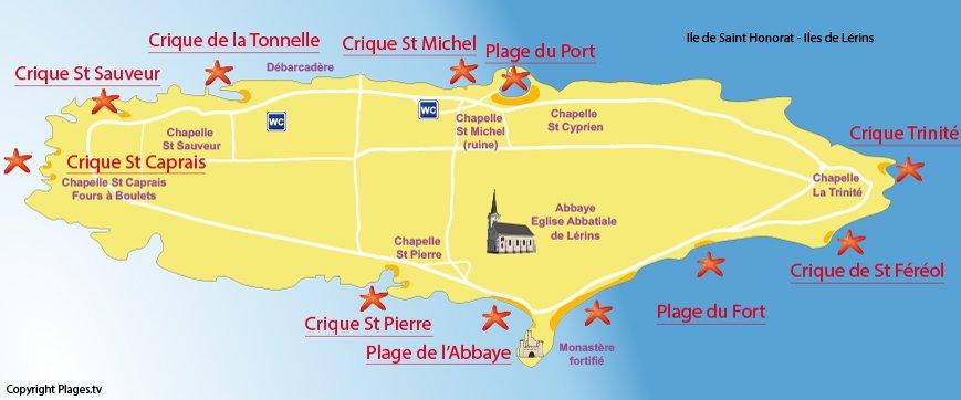 Carte des plages sur l'île de Saint Honorat - Iles de Lérins