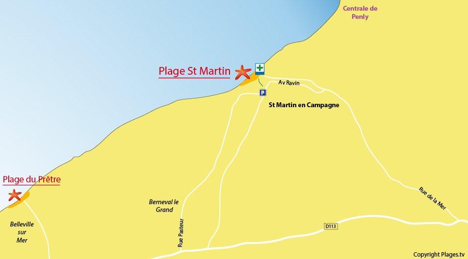 Plan des plages de St Martin en Campagne (Normandie)