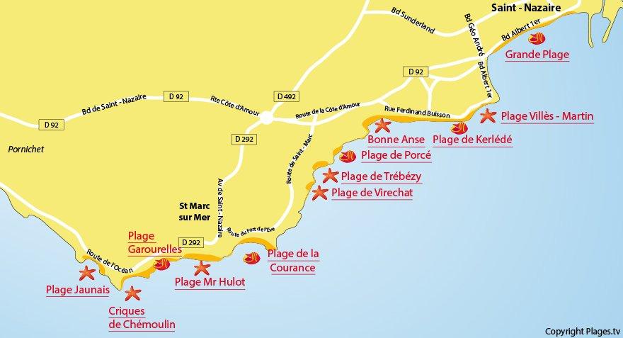 Carte des plages de St Nazaire et de St Marc sur Mer