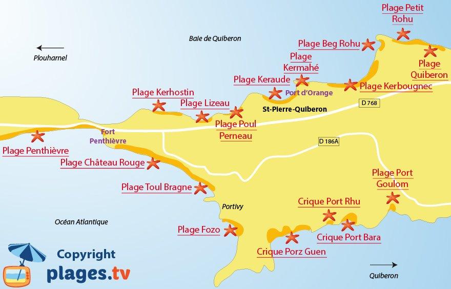 Plan des plages de St Pierre de Quiberon