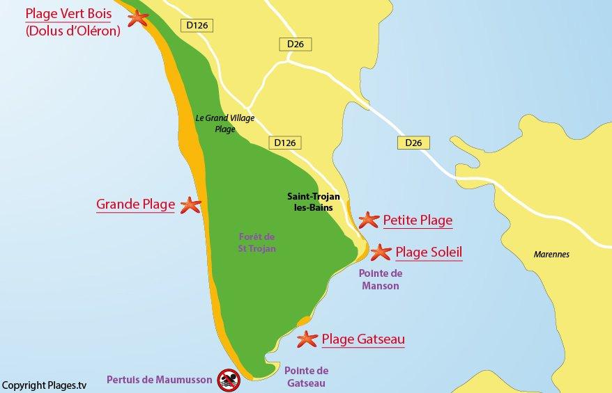 Plan des plages de St Trojan les Bains à Oléron