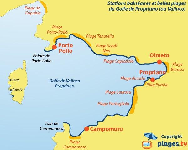 Carte des plages et stations balnéaires du golfe de Propriano - Valinco