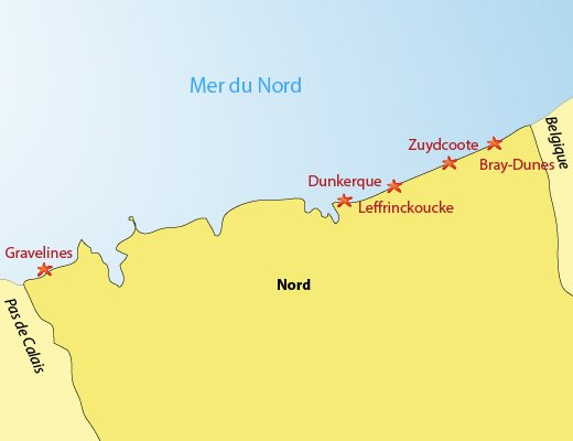 Map of the seaside resort in Nord in France