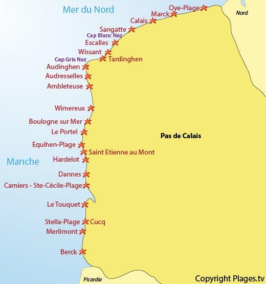 Carte des plages et des stations balnéaires du Pas de Calais