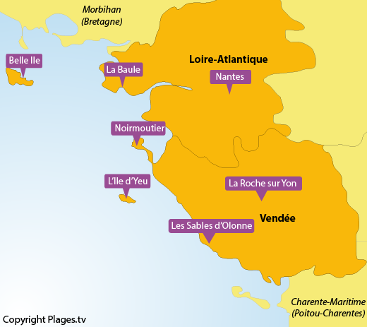 Map of the beaches and seaside resort in Pays de la Loire in France
