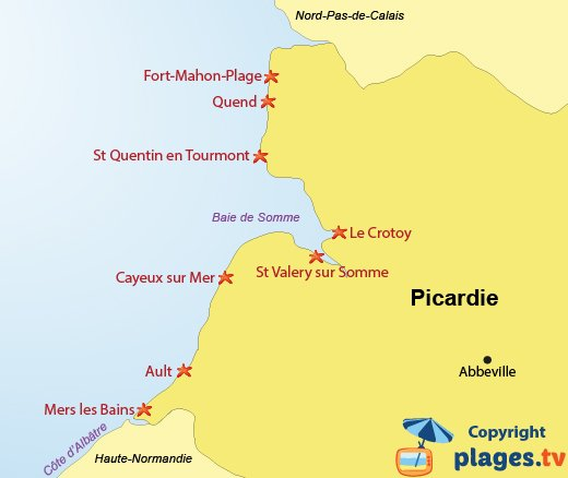 Map of Beaches and seaside resorts in Picardy in France