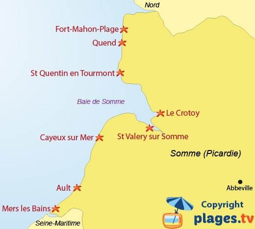 Map of Beaches and seaside resorts in the Somme department