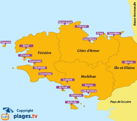 Map of the seaside resorts and beaches in Brittany - France