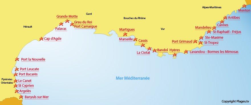 Mappa spiagge e stazioni balneari del Mediterraneo in Francia