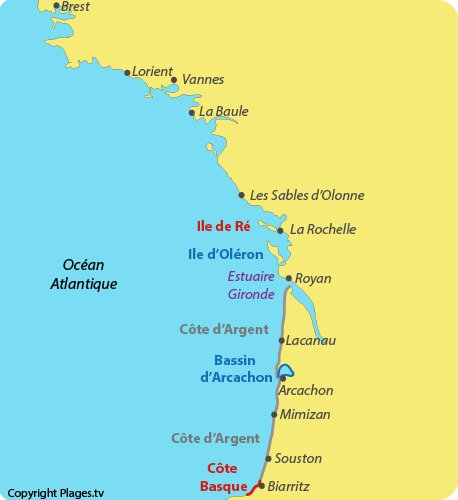 Map of French Atlantic seaside resorts