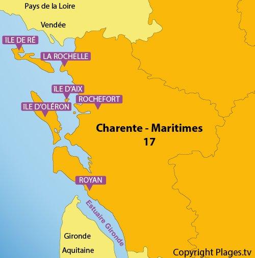 Carte des plages et des stations balnéaires du Poitou Charentes