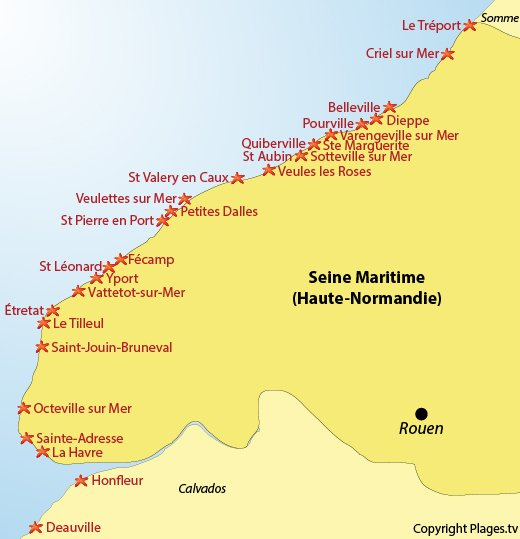 Map of the beaches and seaside in Seine Maritime (Normandy) - France