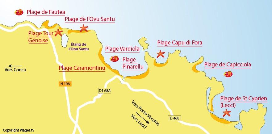 Carte des plages de Ste Lucie de Porto Vecchio