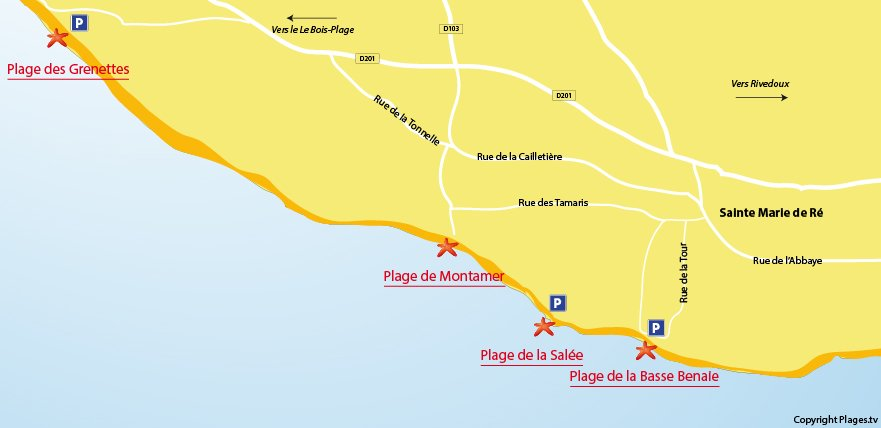 Plan des plages à Sainte Marie de Ré