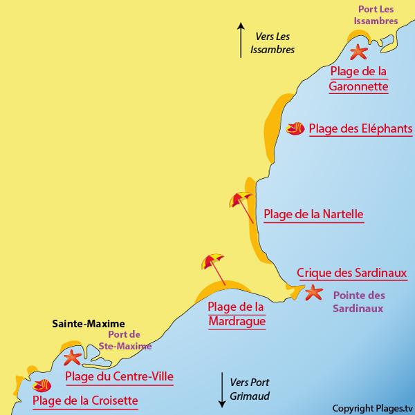 Carte des plages de Sainte Maxime