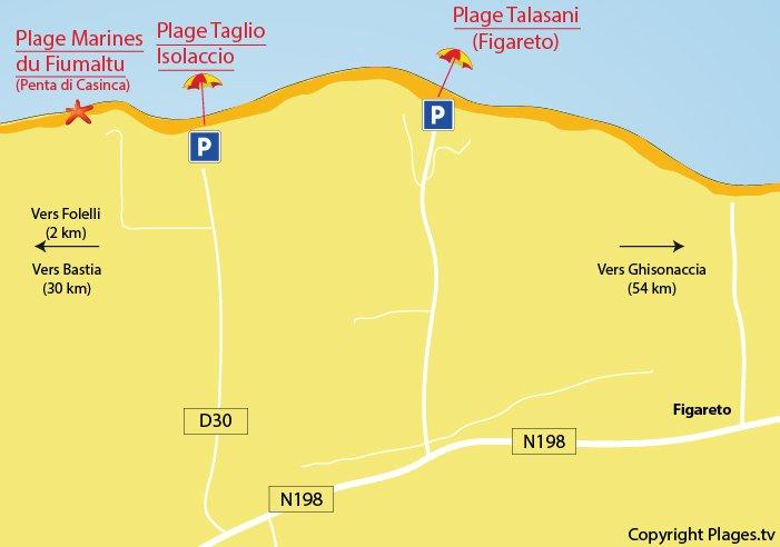 Plan des plages autour de Taglio Isolaccio en Corse - Côte Orientale