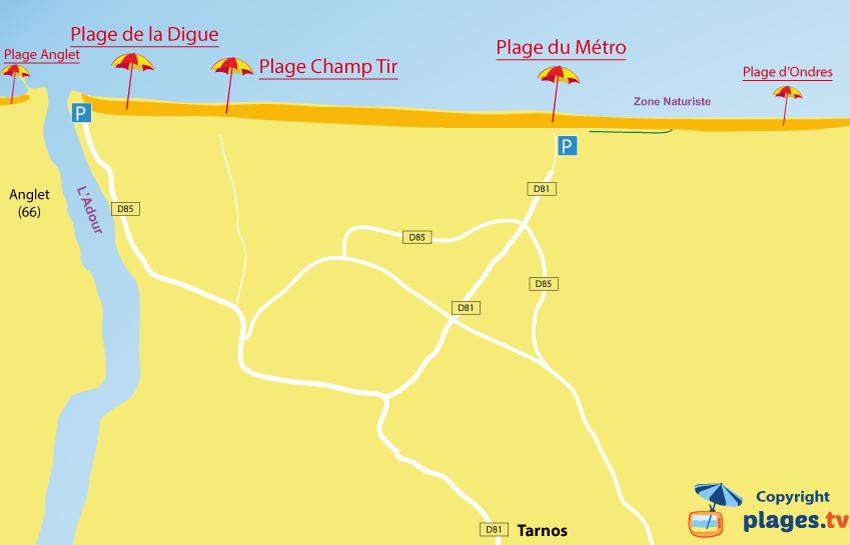 Carte des plages de Tarnos dans les Landes