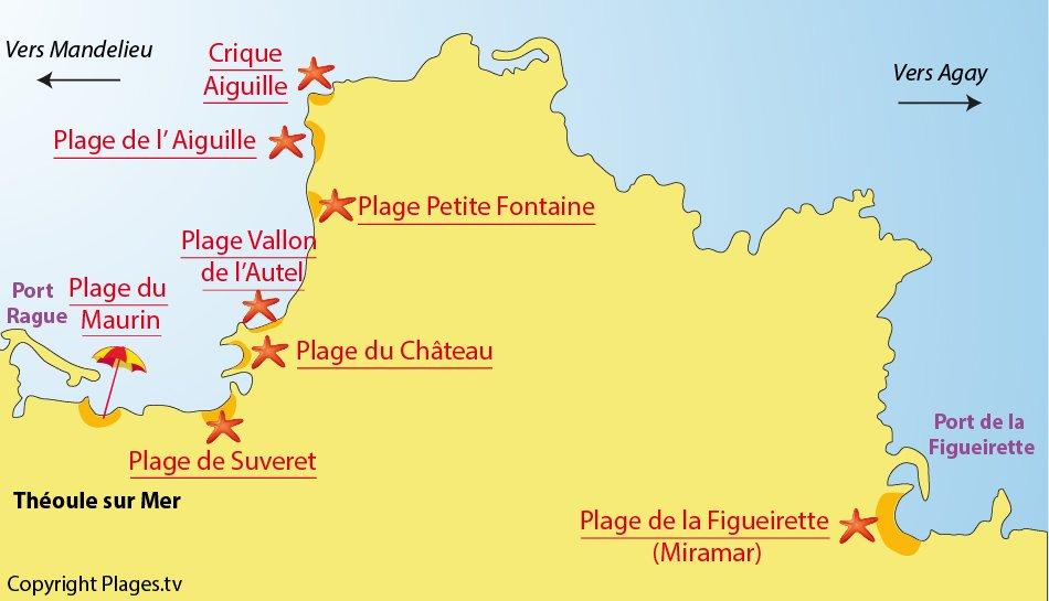 Plan des plages de Théoule sur Mer
