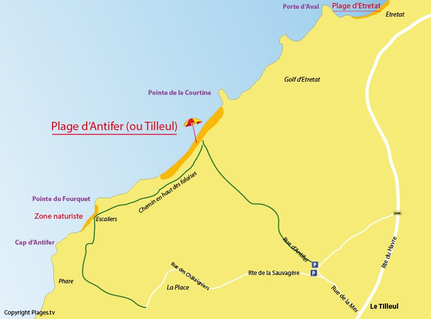 Plan des plages du Tilleul et de la Poterie d'Antifer
