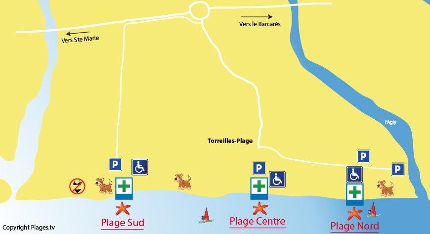 Plan des plages de Torreilles dans les Pyrénées Orientales