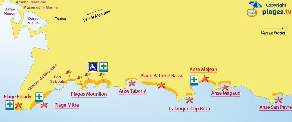 Plan des plages de Toulon dans le Var