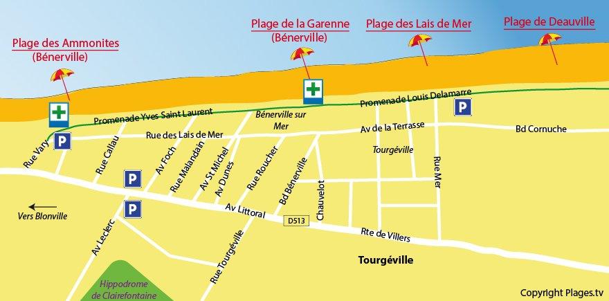 Plan des plages de Tourgéville dans le Calvados
