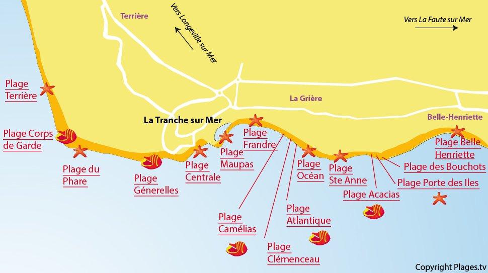 Plan des plages de La Tranche sur Mer en Vendée