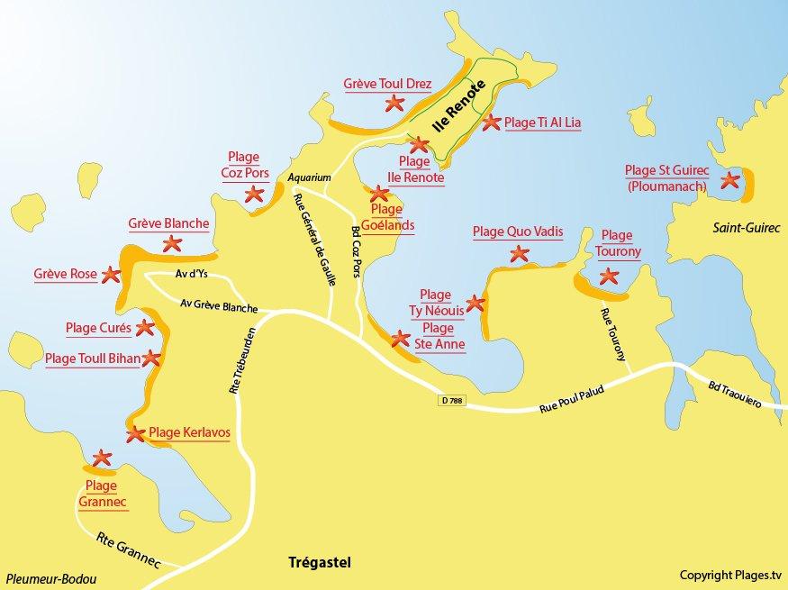 Carte des plages de Trégastel et de Saint Guirec