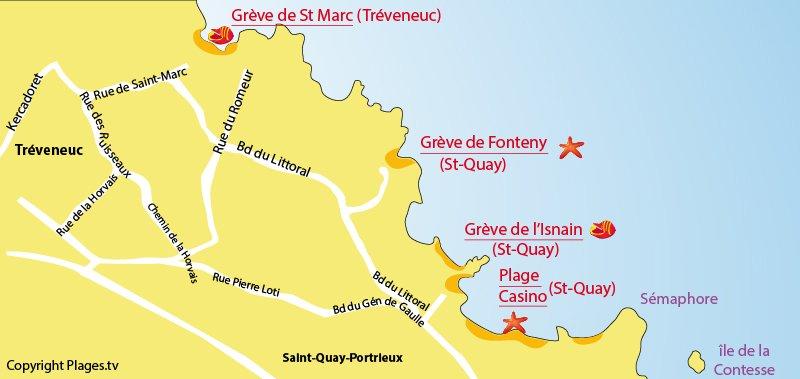 Carte des plages de Tréveneuc